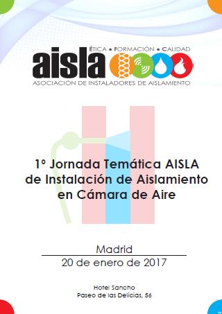 Díptico de la 1º Jornada Temática AISLA de Instalación de Aislamiento en Cámara de Aire